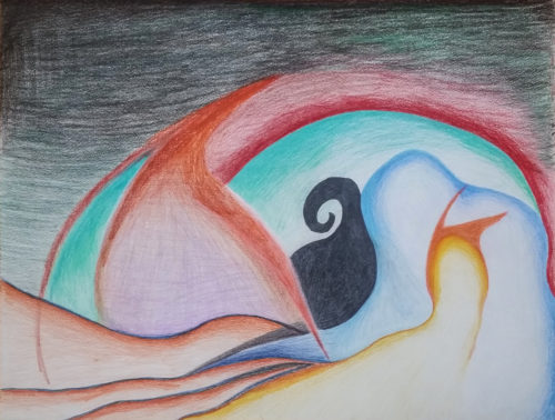 Abstract Colored Pencil Study by Kelly Pride - Small