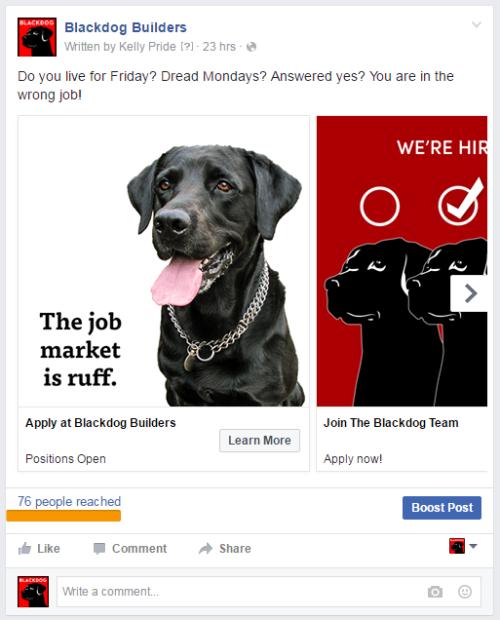 Blackdog Job Openings Facebook Ad