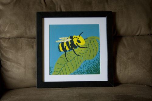 Busy Bee Linocut Print