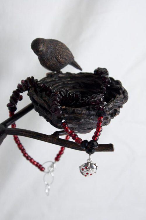 Garnet Ladybug Necklace
