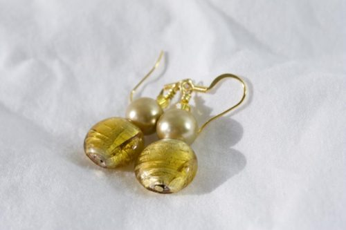 Gold Glass And Pearls Earrings