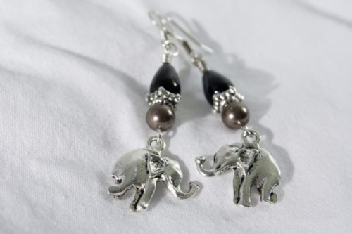 Gray Elephants Earrings
