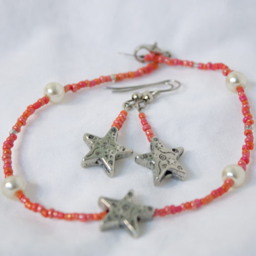 Coral Starfish Jewelry Set