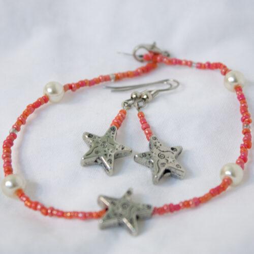 Coral Starfish Jewelry Set